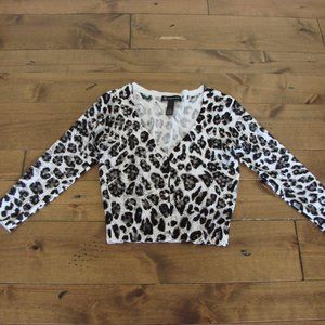 INC International Concepts Animal Print Sequins Cropped Cardigan Top